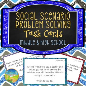 The best way to learn social problem solving skills is to practice over and over through multiple situations. Task cards are a great way to do this.